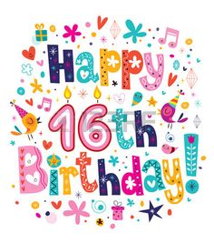 Happy 16th Birthday Stock Vector