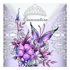 Purple Lilac Butterfly Tiara Quinceanera Floral Card