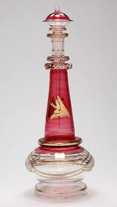 Egyptian Perfume Bottle - Blown Glass -  Genie Bottle - Gold Trim - 617-10