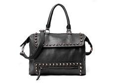 $24.99Street Level Women's Handbag With Rivets and Zipper Design #StreetLevelHandbags #ShoulderBag