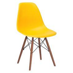 Eames Style Vortex Molded Plastic Dowel-Leg Side Chair (DSW) Walnut Legs – Poly + Bark