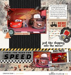 Disney's Radiator Springs digital scrapbooking page using Project Mouse (Cars) by Britt-ish Designs and Sahlin Studio