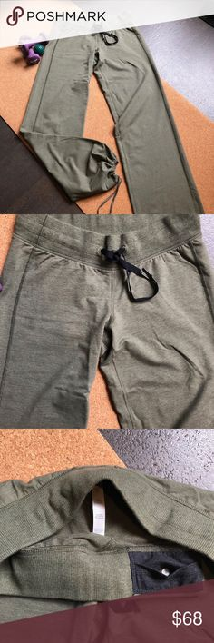 """Lululemon Studio Pant II Lululemon Dance Studio Pant II, women's, army green, Size 8. 33"""" inseam, medium rise. In my opinion, they fit long and loose. Ankles have a drawstring so you may customize the ankle and length. No exterior pockets, one key pocket inside front waistband (photo #3). Nylon/Polyester/Lycra lululemon athletica Pants Track Pants & Joggers"""