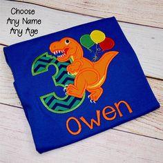Dinosaur Birthday Party Shirt, Boys Dino Birthday Shirt, Boys 2nd Birthday Shirt, Kids Third Birthday Personalized Shirt, Dinosaur Shirt