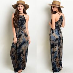 LAST ONENavy Tan Tie Dye Maxi Dress A halter maxi dress with a cinched elastic waist and a marble print in black, blue, and tan. Cotton-like fabric. Dresses Maxi
