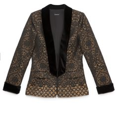 bebe Jacquard Boyfriend Blazer (10,800 PHP) ❤ liked on Polyvore featuring outerwear, jackets, blazers, boyfriend jacket, bebe, boyfriend blazer, jacquard jacket and bebe jacket