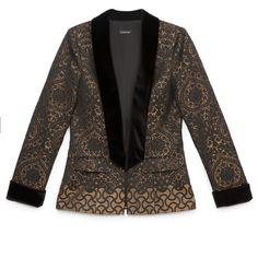 bebe Jacquard Boyfriend Blazer (850 BRL) ❤ liked on Polyvore featuring outerwear, jackets, blazers, blazer, coats, coats & jackets, bebe, jacquard jacket, boyfriend jacket and boyfriend blazer jacket