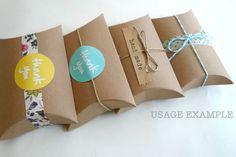 Kraft Pillow Boxes- Kraft Paper Gift Box 3 x 3.5 x 1 in- Set of 12 Blank. $3.50, via Etsy.