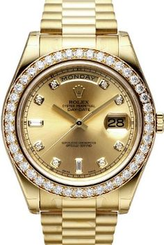 Rolex Day-Date II President Yellow Gold Diamond Watch, Champagne Diamond Dial, http://www.amazon.com/dp/B00BLIKB9K/ref=cm_sw_r_pi_awdm_rEUfwb035T5TZ