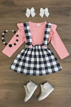 Sweet Plaid Toddler Baby Girl Tops T-shirt Suspender Skirt Dress Outfits Clothes in Baby, Baby Clothing, Girls Little Girl Outfits, Little Girl Fashion, Toddler Girl Outfits, Baby Girl Dresses, Baby Outfits, Toddler Fashion, Baby Dress, Dress Outfits, Kids Outfits