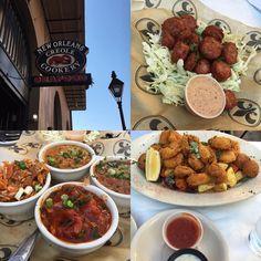 Dinner! #neworleanscreolecookery #gatorbites #jambalaya #crawfishetouffee #redbeansandrice #shrimpcreole #shrimp #hushpuppies #nolaeats #delicious #stuffed #nola #frenchquarter #toulousest by selfishlady