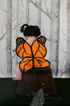 Crochet Butterfly Cap and Wing Set by NGBLilSproutBoutique for $15.00