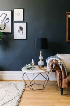Dark Walls with Geometric Table