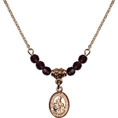 18-Inch Hamilton Gold Plated Necklace with 4mm Purple February Birth Month Stone Beads and Saint Margaret of Scotland Charm. 18-Inch Hamilton Gold Plated Necklace with 4mm Amethyst Birthstone Beads and Saint Margaret of Scotland Charm. Purple represents Amethyst, the Birthstone for February. Hand-Made in Rhode Island. Lifetime guarantee against tarnish and damage. Hamilton gold is a special alloy designed to have a rich and deep gold color.