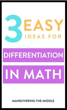 Common core high school math - 3 Ideas for Differentiating Instruction – Common core high school math Differentiation In The Classroom, Math Classroom, Math Math, Maths, Teaching Strategies, Teaching Math, Teaching Ideas, Special Education Math, Student Centered Learning