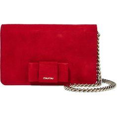 Miu Miu Bow-embellished suede shoulder bag (£640) ❤ liked on Polyvore featuring bags, handbags, shoulder bags, suede shoulder bag, zipper handbag, red shoulder bag, lips pursed and shoulder handbags