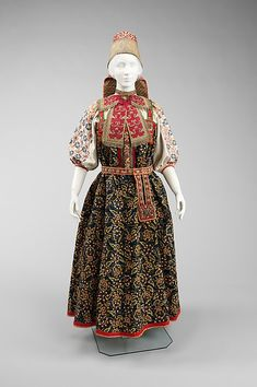 late 17th-19th century russia; linen, cotton, wool, pigment, metal, silk, glass, mother-of-pearl - at MET