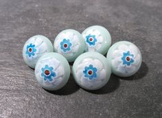Millefiori Glass Buttons Six (6) Light Blue Glass Millefiori Buttons Metal Loop Shank Wedding Jewelry Sewing Supplies (T116) by punksrus on Etsy