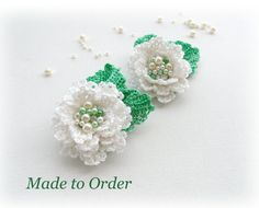 Set of 2 Crochet  Flowers  Brooches  Made to by CraftsbySigita,