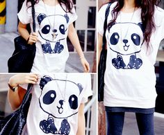 My daughter would love this Panda shirt Panda Love, Cute Panda, Gyaru, Panda Kawaii, Rockabilly, Harajuku, Panda Shirt, Panda Party, Pin Up