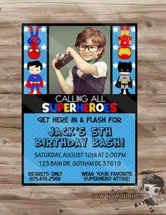 SUPERHERO Photo Invitation Superhero Birthday by SewKawaiiKids, $10.00