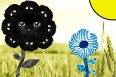 Flowers in a field (featuring a cat photo, beard photo, ATandT logo, and Pac-Man)