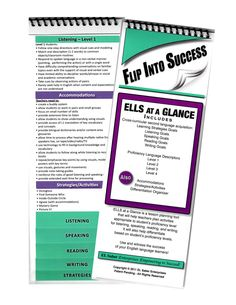 ELLs at a Glance includes ELL goals, accommodations and instructional strategies.