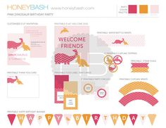 Pink Girl Dinosaur Birthday Party Decoration  Printable by HoneyBash; http://www.etsy.com/shop/honeybash