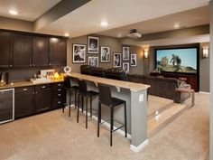 A finished basement is an awesome home addition. Check out our photos of cool basement designs that will add more usable square footage to any home. At Home Movie Theater, Home Theater Design, Home Theater Seating, Theater Rooms, Theatre, Basement Renovations, Home Remodeling, Basement Ideas, Basement Designs