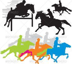 Set vector horse rider silho