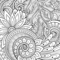 Hand Drawn Ornament with Flowers. Template for Greeting Card Monochrome Floral Background. Hand Drawn Ornament with Flowers. Template for Greeting Card Pattern Coloring Pages, Mandala Coloring Pages, Coloring Pages To Print, Coloring Book Pages, Coloring Pages For Grown Ups, Printable Adult Coloring Pages, Dibujos Zentangle Art, Flower Art Drawing, Drawing Art