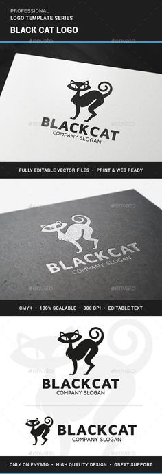 Black Cat Logo Template and like OMG! get some yourself some pawtastic adorable cat apparel!