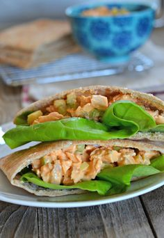 Lightened Up Buffalo Chicken Salad Sandwiches made with Greek Yogurt  | mountainmamacooks.com