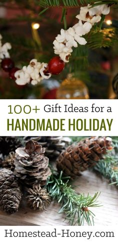 Over 100 ideas for DIY handmade holiday gifts, including treats for the body, kitchen, home, and kids. Homemade Christmas presents are gifts from the heart! | Homestead Honey #christmas #christmasgifts #holidays #holidaygifts #giftideas