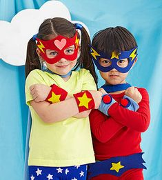 An Everyday Superhero Celebration: Caped Crusaders. make masks and cuffs from velcro, felt and elastic. templates at parents.com/masks