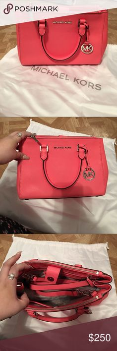 NWT Michael Kors Small Sutton- Coral Brand new with tags, beautiful small Sutton Michael Kors bag in the color Coral. It has silver hardware and it is very spacious! Has strap for shoulder use, TV $385 Michael Kors Bags Satchels