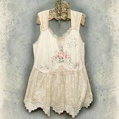Amazing top made from upcycled vintage cotton and lace.