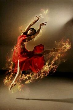 ♫♪ Dance ♪♫ Lady in red on fire flame dance by ~robinpika ARIES Prophetic Dance, Fire Dancer, Shall We Dance, Dance Art, Prophetic Art, Dancers Art, Worship Art, Art, Dance Photography