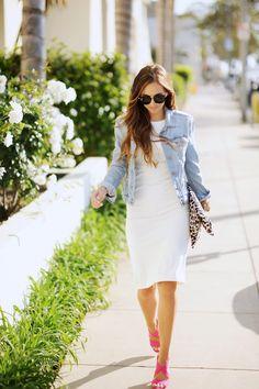 A White dress, hot pink sandals, and denim jacket make summer dressing perfection!