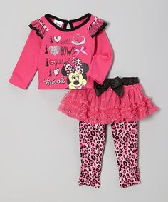 Take a look at this Pink Minnie Ruffle Tee & Skirted Leggings - Infant & Toddler by Minnie's Bow-Tique on #zulily today!