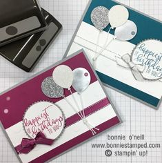 I love creating cards for all occasions, however, I absolutely love adding simple balloons from the balloon punch to add a little WOW to my card.  Let's take a closer look at today's card!