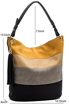 Handbags for women totes Hobo Shoulder Bags Tassels Stripes Top Handle Bags gift for valentine's day - Black - Cheap Handbags, Purses And Handbags, Luxury Handbags, Popular Handbags, Cheap Purses, Large Purses, Leather Purses, Leather Handbags, Handbag Patterns