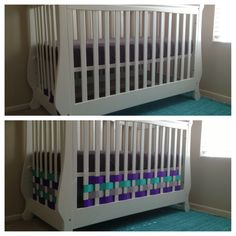 Purple, teal and gray nursery basket weave crib decoration  DIY ribbon and tape is all I used.