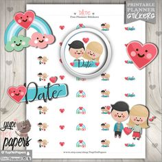 Love Stickers, Planner Stickers, Love Planner, Valentines Day Stickers, Heart Stickers, Stamps, Planner accesories, Erin condren