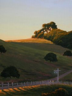 """Late Light, West Marin, 12"""" x 9"""", West Marin County, California, Hwy 1, Point Reyes Station, Northern California Landscape Painting, Marin County Landscape Painting, original oil painting, evening light, sunset light, country road, country hills, scenic drive, scenic country, fine art, Terry Sauve, terrysauve.com"""