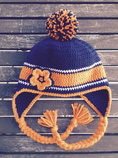 Denver Bronco Earflap Hat  with or without by IHeart2Crochet