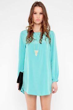 Shifted Dress in Aqua $37 at www.tobi.com