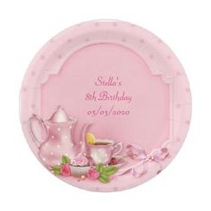 #wedding - #Pink Dot Tea Pot Party Shower Birthday Paper Plate  sc 1 st  Pinterest : custom paper plates and napkins - pezcame.com