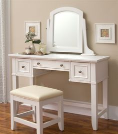 Naples Vanity Table in White Finish  Make-up table