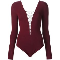 T By Alexander Wang lace-up bodysuit ($180) ❤ liked on Polyvore featuring intimates, shapewear, bodysuit, tops and red